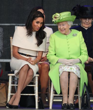Queen Elizabeth II and the Duchess of Sussex at the opening of the new Mersey Gateway Bridge, in Widnes, Cheshire., Image: 374869722, License: Rights-managed, Restrictions: , Model Release: no, Credit line: Profimedia, Press Association