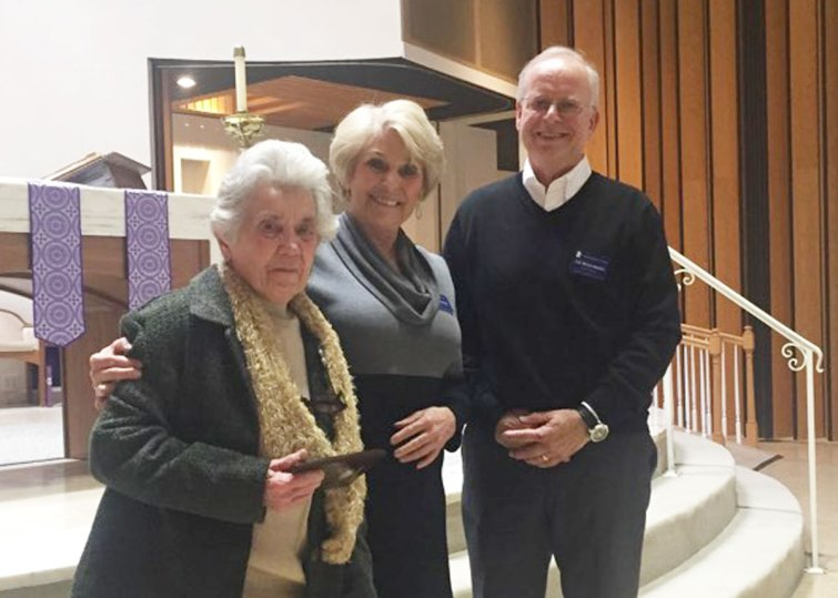 Margaret Schum from the Mary Queen of Peace Conference (left) received the St. Vincent award from Donna Young and Ed Wnorowski (left).