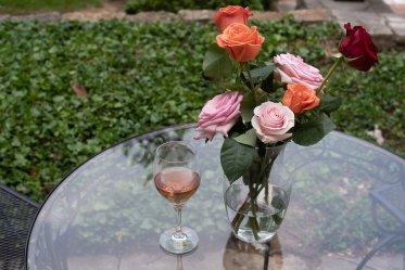 Roses and rosé. Photo by Andrea Hutchinson, courtesy of The Voice-Tribune.