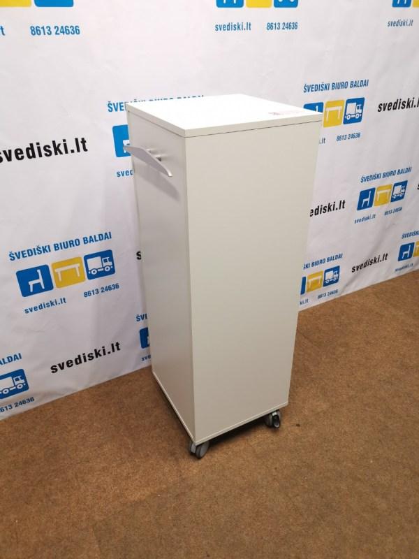 Švediški Lt. Balta Biuro Spintelė Su Stalčiais Ir Ratukais, Iš Švedijos