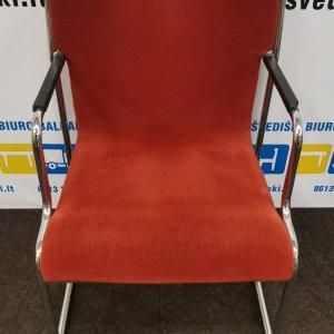 Švediški.lt Lammhults Raudona Lankytojo kėdė Su Chromo Rėmu Ir Porankiais, Švedija