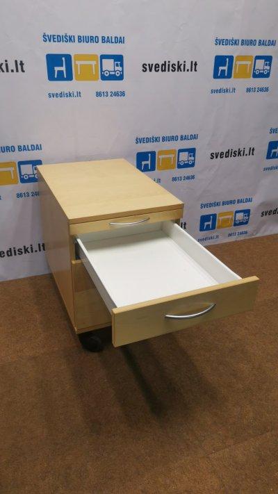 EFG Šviesaus Beržo Stalčių Blokas Su 3 Stalčiais Ir Ratukais, Švedija