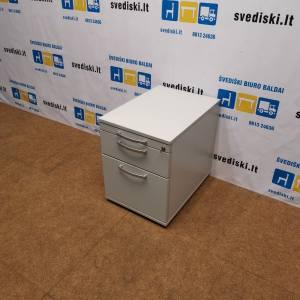 Pilkas Stalčių Blokas Su 3 Rakinamais Stalčiais, Švedija