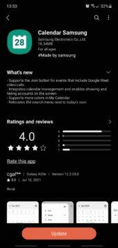Registro de alteração do botão Samsung Calendar Google Meet