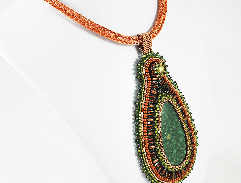 Green Pendant Bead Embroidery