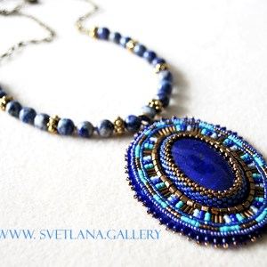Lapis lazuli pendant: the creative process. Bead Embroidery is one of the latest features on Svetlana's Blog.