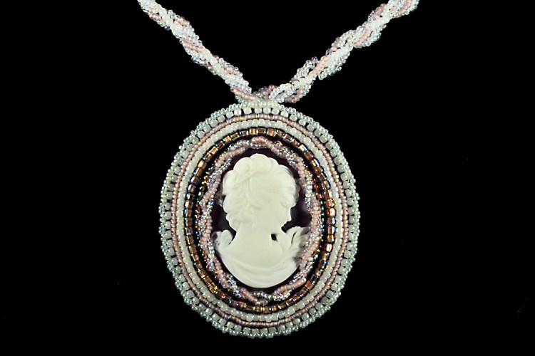 Cameo Pendant Bead Embroidery