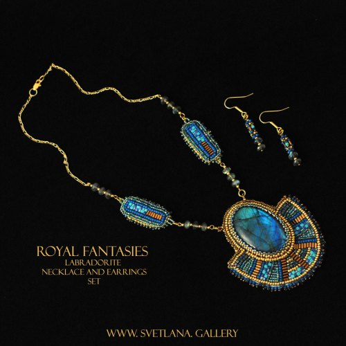 Royal Fantasies Labradorite Necklace and Earrings Set at www.svetlana.gallery