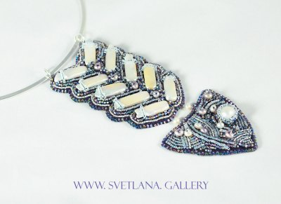 Fish Pearl Pendant Bead Embroidery Handmade Jewelry by Svetlana Zoubkov