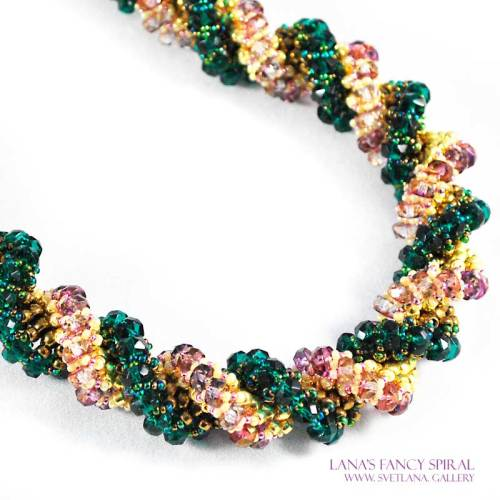 Lana's Fancy Spiral with Czech disk beads - Two spirals woven into one - Bead Pattern Gallery