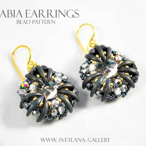 Nabia Earrings - Crystal and Charcoal Version - Bead Pattern