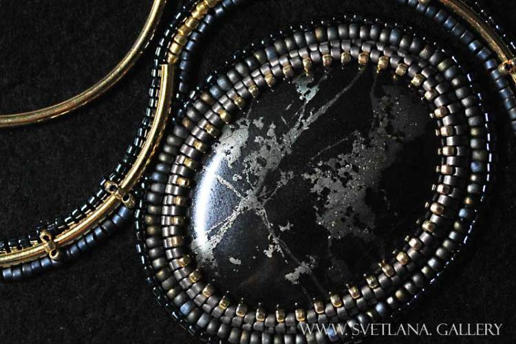 Pyrite Pendant Bead Embroidery -Don't Throw Away Your Bent Needle - Svetlana.Gallery Blog