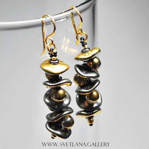 Earrings With Ripple And Mushroom Button Beads Free Tutorial - Gold Version - Svetlana.Gallery