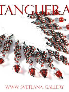 Tanguera Necklace with handmade glass beads -fashion statement! Svetlana.gallery
