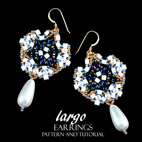 Largo Earrings Bead Pattern And Tutorial - Royal Blue And Pearl Version