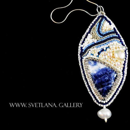 Sodalite Pendant Bead Emroidery - Handmade Jewelry at Svetlana.Gallery