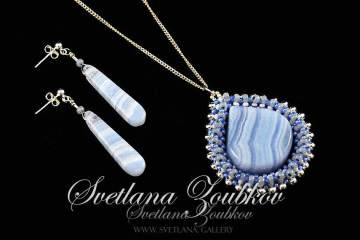 Blue Lace Agate Pendant and Earrings Set
