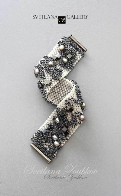 City Style Beaded Bracelet Idea - Peyote Stitch Metallic Colors - Svetlana.Gallery Beading