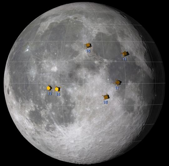 Lokacije sletanja Apolo misija. (Credit: NASA's Goddard Space Flight Center Scientific Visualization Studio)