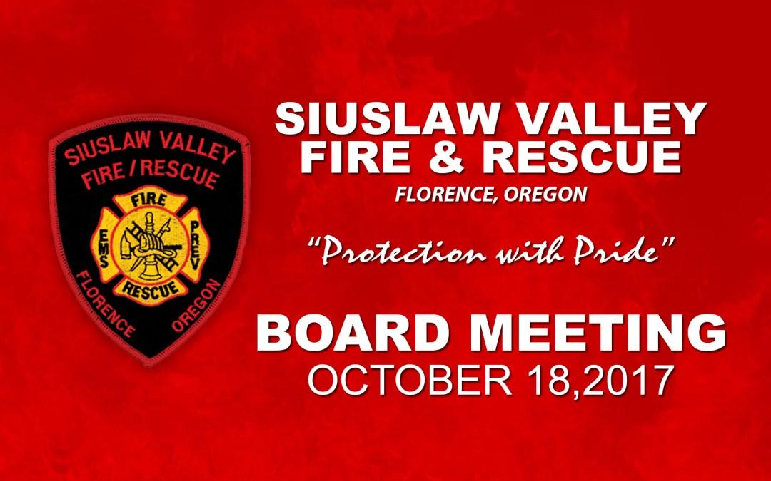 Board Meeting – October 18, 2017