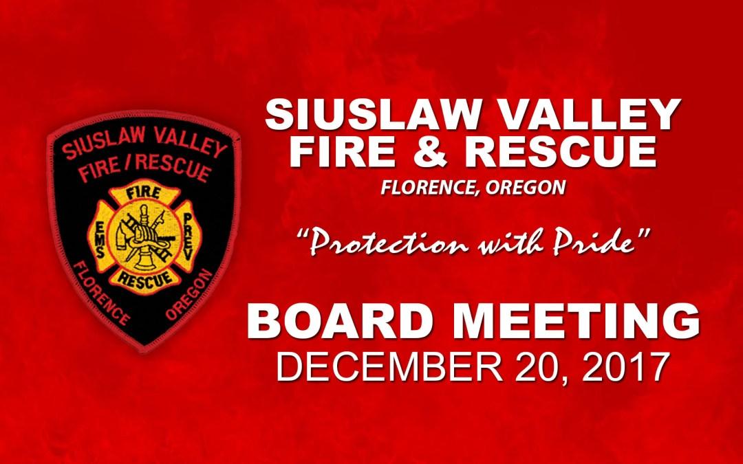Board Meeting – December 20, 2017