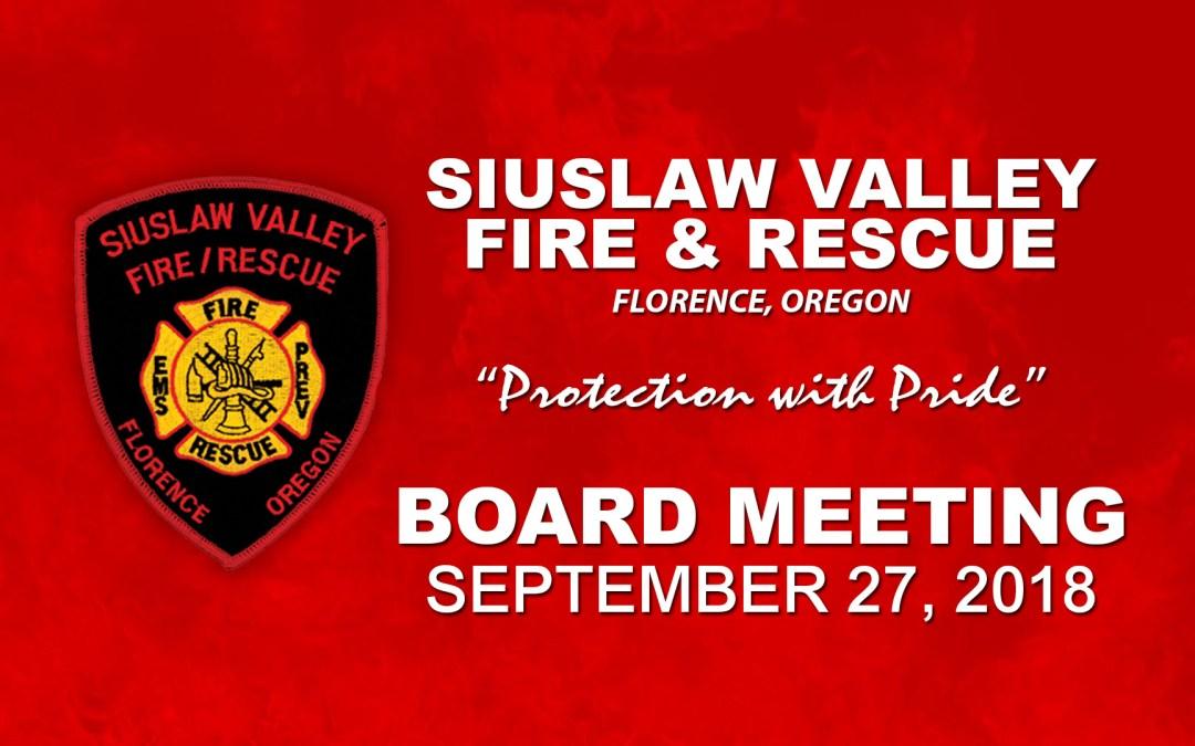 Board Meeting – September 27, 2018