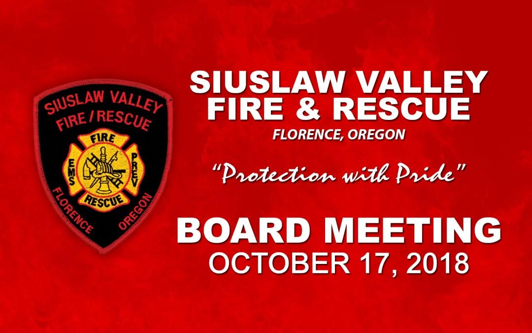 Board Meeting – October 17, 2018