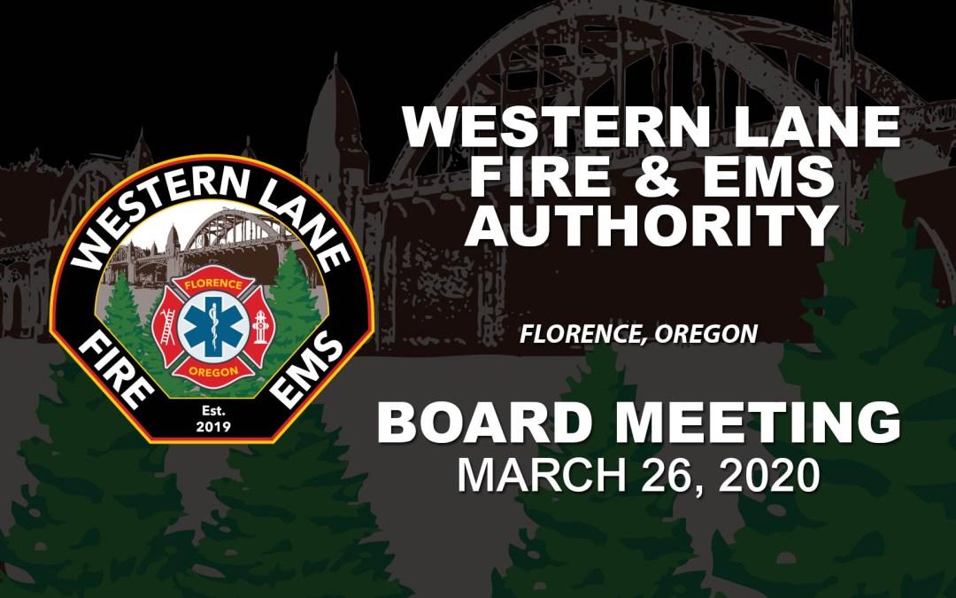 WLFEA Board Meeting – March 26, 2020