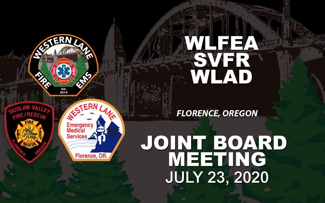 WLFEA/SVFR/WLAD Joint Board Meeting – July 23, 2020