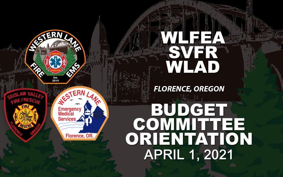 WLFEA/SVFR/WLAD Budget Committee Orientation – April 1, 2021