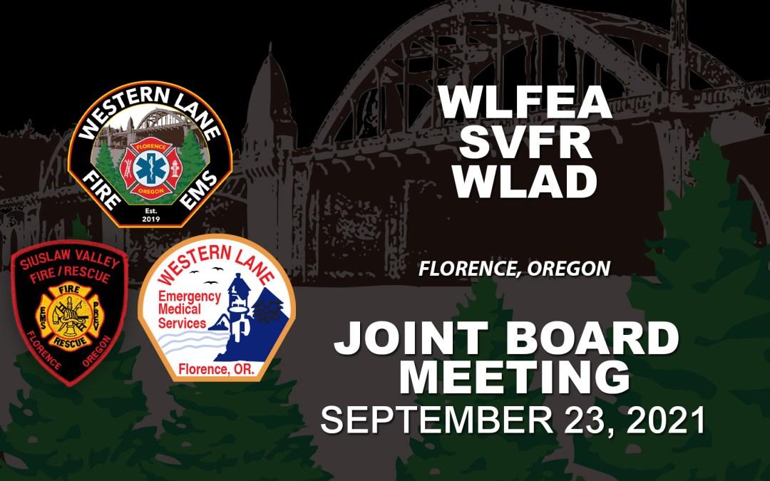 WLFEA/SVFR/WLAD Joint Board Meeting – September 23, 2021