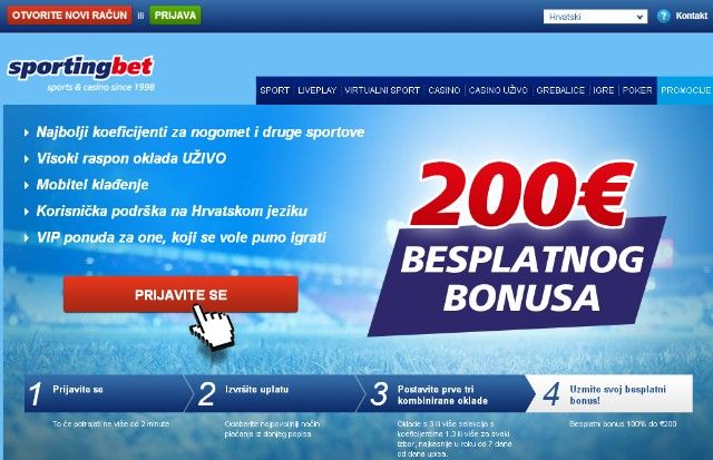 €200 BESPLATNOG BONUSA - Sportingbet