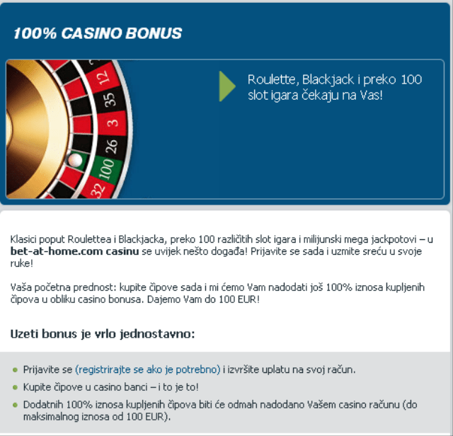 Bet at home casino bonus 100e bonus za kockanje igranje bonus code first