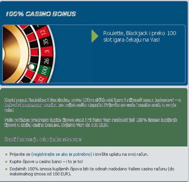 Bet at home casino bonus 100e bonus za kockanje igranje bonus code first