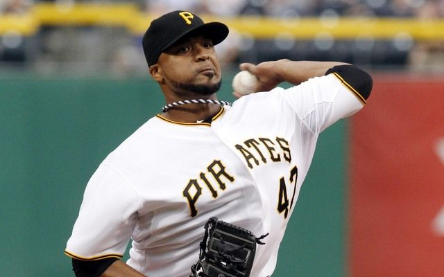 May 22, 2013; Pittsburgh, PA, USA; Pittsburgh Pirates starting pitcher Francisco Liriano (47) delivers a pitch against the Chicago Cubs during the first inning at PNC Park. Mandatory Credit: Charles LeClaire-USA TODAY Sports
