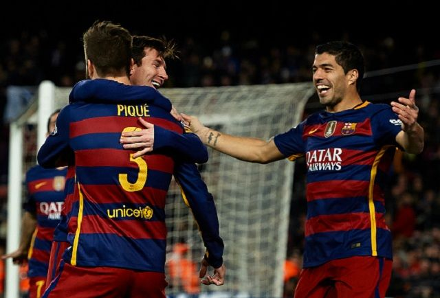 BARCELONA, SPAIN - FEBRUARY 28: Gerard Pique of Barcelona celebrates scoring his team's second goal with his teammates Lionel Messi and Luis Suarez (R) during the La Liga match between FC Barcelona and Sevilla FC at Camp Nou on February 28, 2016 in Barcelona, Spain. (Photo by Manuel Queimadelos Alonso/Getty Images)
