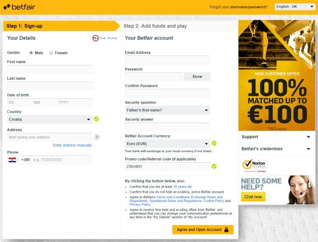 Betfair registracija