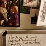 My fridge makes me happy, even before I raid it for food. #lovenotes #weddingpicture #googlyeyes #love
