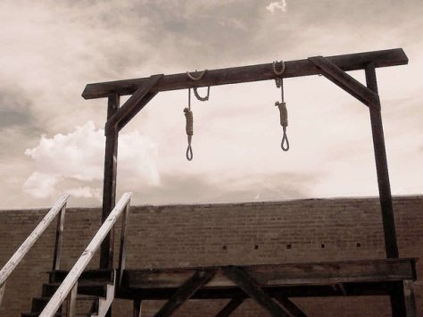 Hangsman gallows with nooses