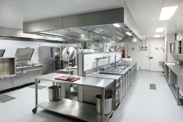 Industriële keuken van het nieuwe kantoorgebouw BNP Parisbas Fortis met auditorium (fase 1), Brussel