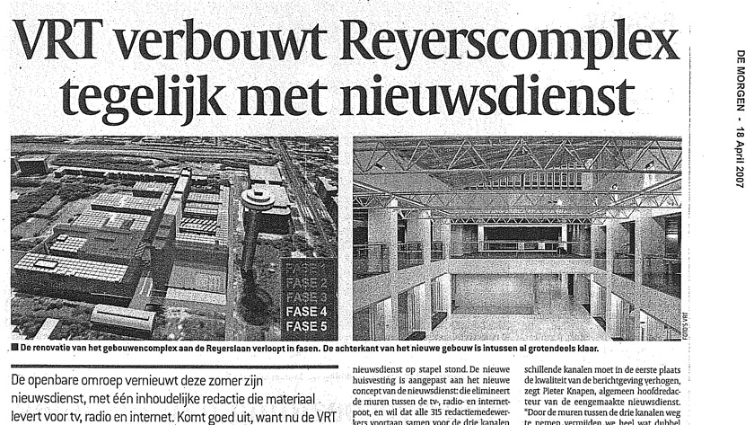 VRT is renovating Reyers complex simultaneously with their news service