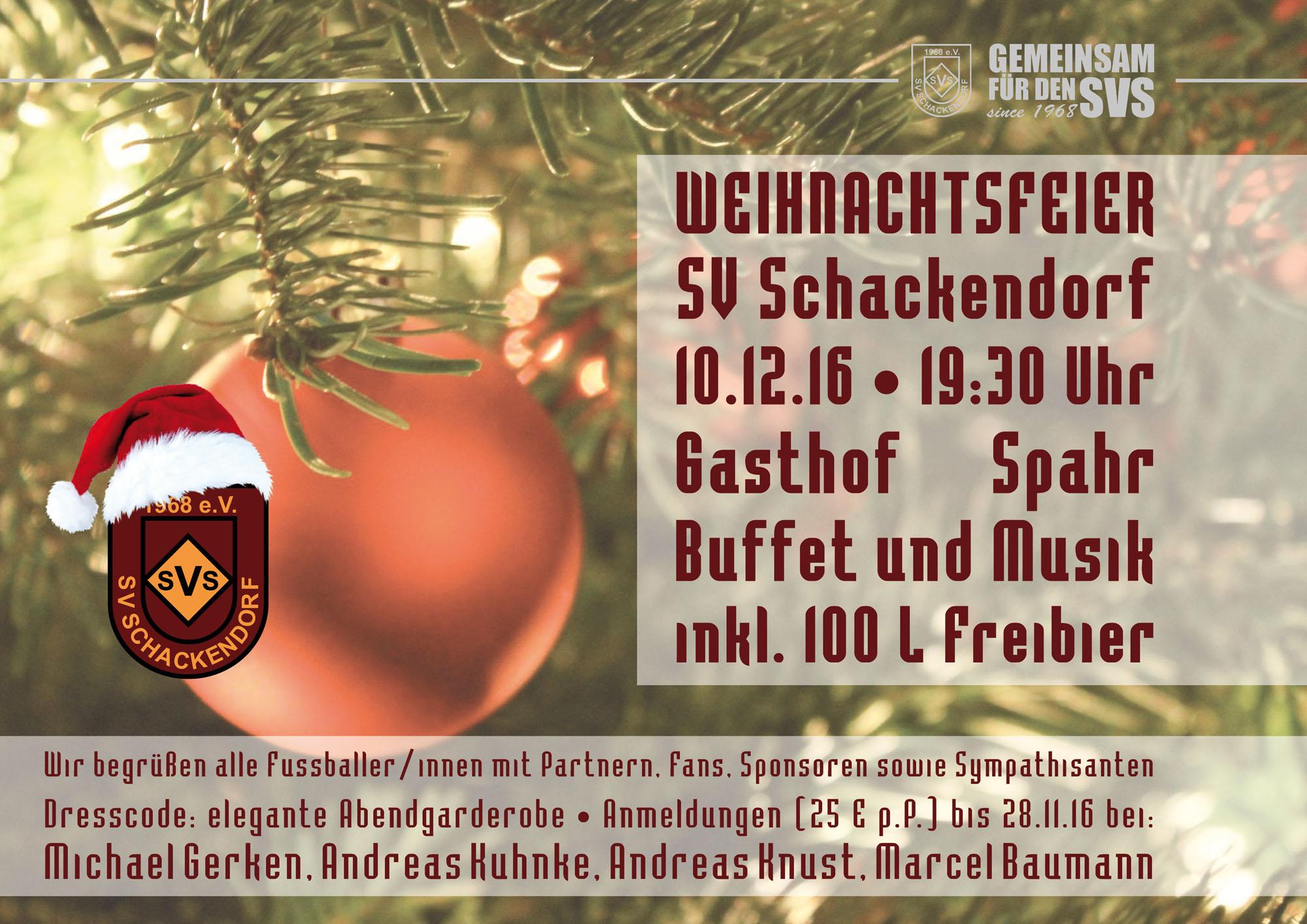 Weihnachtsfeier – SV Schackendorf e.V. von 1968