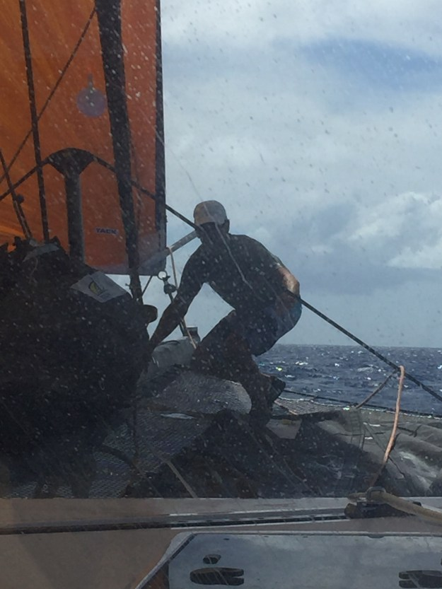Matt preparing to change sails.