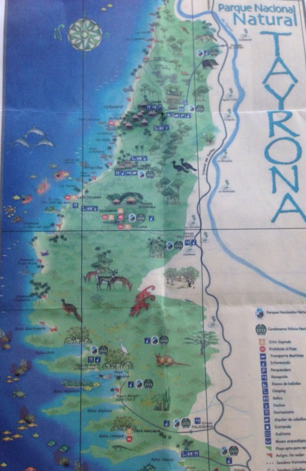 Hand held Tayrona Map with little information.