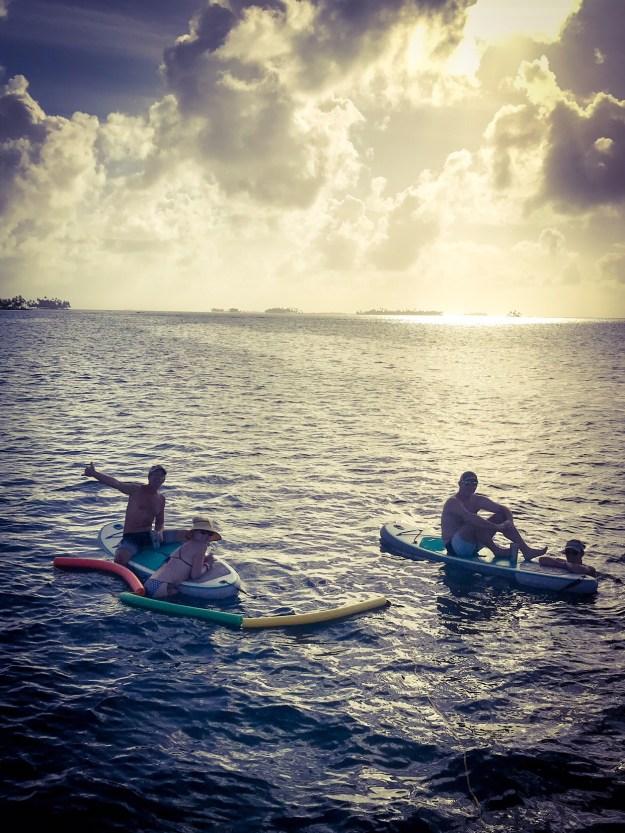 Enjoying sundowners in the water.