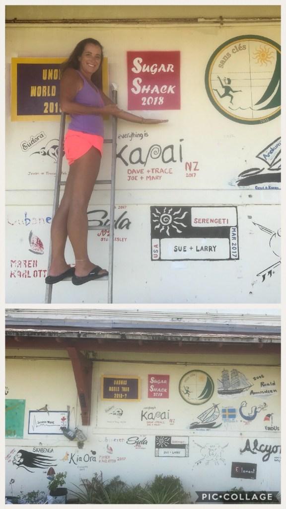 Sugar Shack branded the sail loft wall.