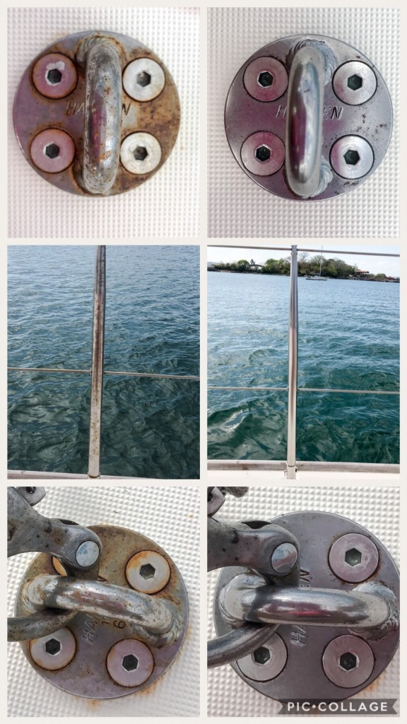 Cleaning up the stainless on the boat