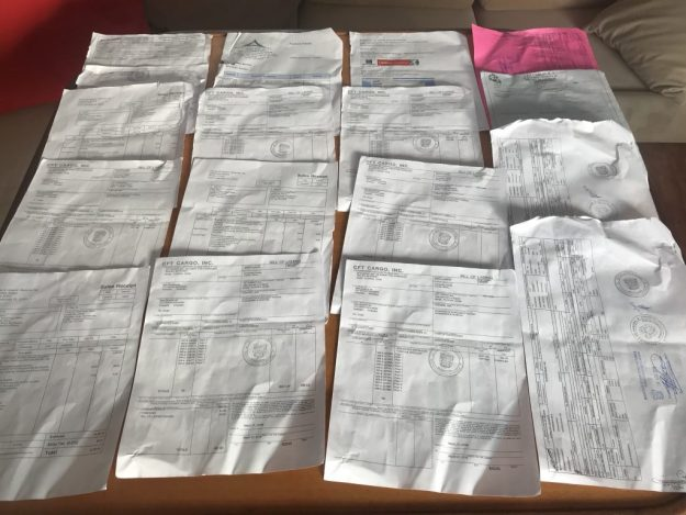 Battery paperwork, 16 docs & 29 stamps.