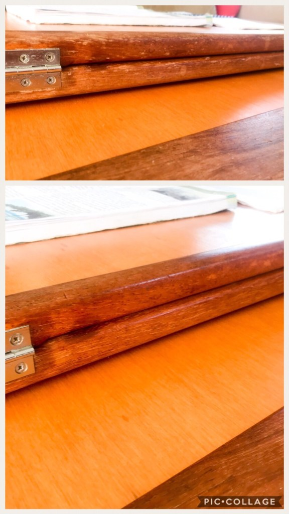 Before and after table wood project