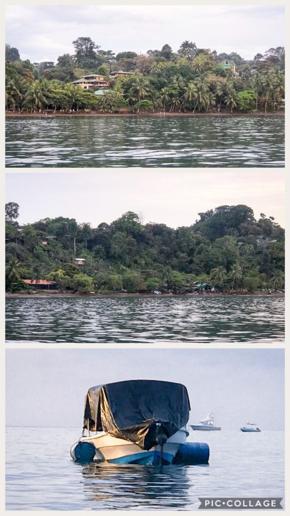 Bahia Drake shoreline and bay with fishing boats